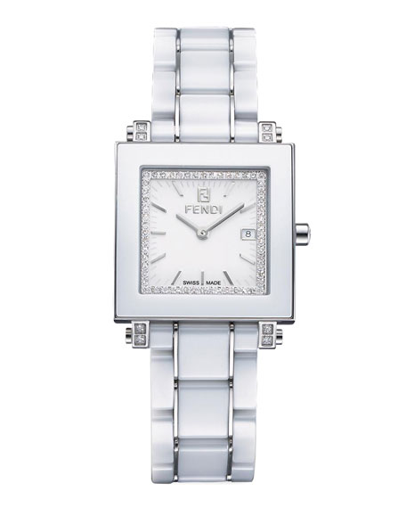 Ceramic Quadro Large Watch, White