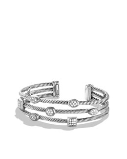 David Yurman Confetti Three-Row Cuff with Diamonds