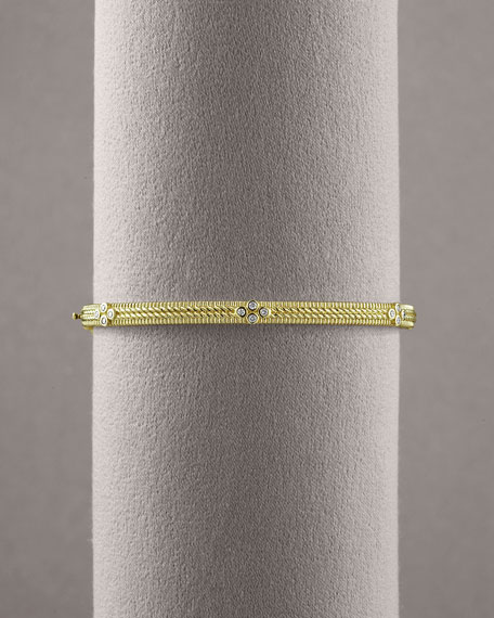 Double Rope Diamond Bangle