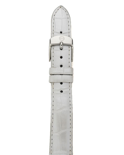 MICHELE 16mm Alligator Strap, Silver Pearl