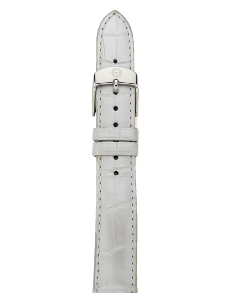 16mm Alligator Strap, Silver Pearl