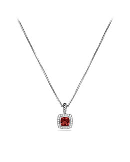 David Yurman Petite Albion Pendant with Pyrope Garnet and Diamonds on Chain