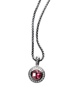 David Yurman Petite Cerise Pendant with Pyrope Garnet and Diamonds on Chain