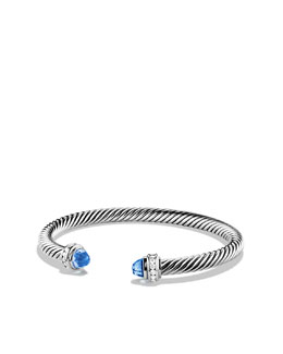 David Yurman Cable Classics Bracelet with Blue Topaz and Diamonds