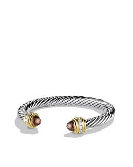 David Yurman Cable Classics Bracelet with Smoky Quartz, Diamonds, and Gold