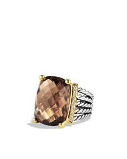 David Yurman Wheaton Ring with Smoky Quartz and Diamonds and Gold