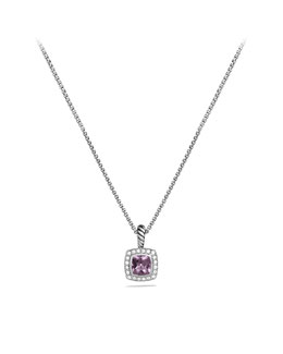 David Yurman Petite Albion Pendant with Lavender Amethyst and Diamonds on Chain
