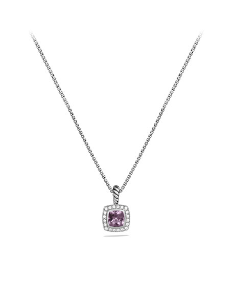 Petite Albion Pendant with Lavender Amethyst and Diamonds on Chain