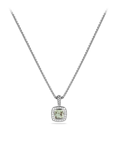 David Yurman Petite Albion Pendant with Prasiolite and Diamonds on Chain