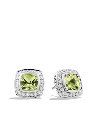 David Yurman Petite Albion Earrings with Prasiolite and Diamonds