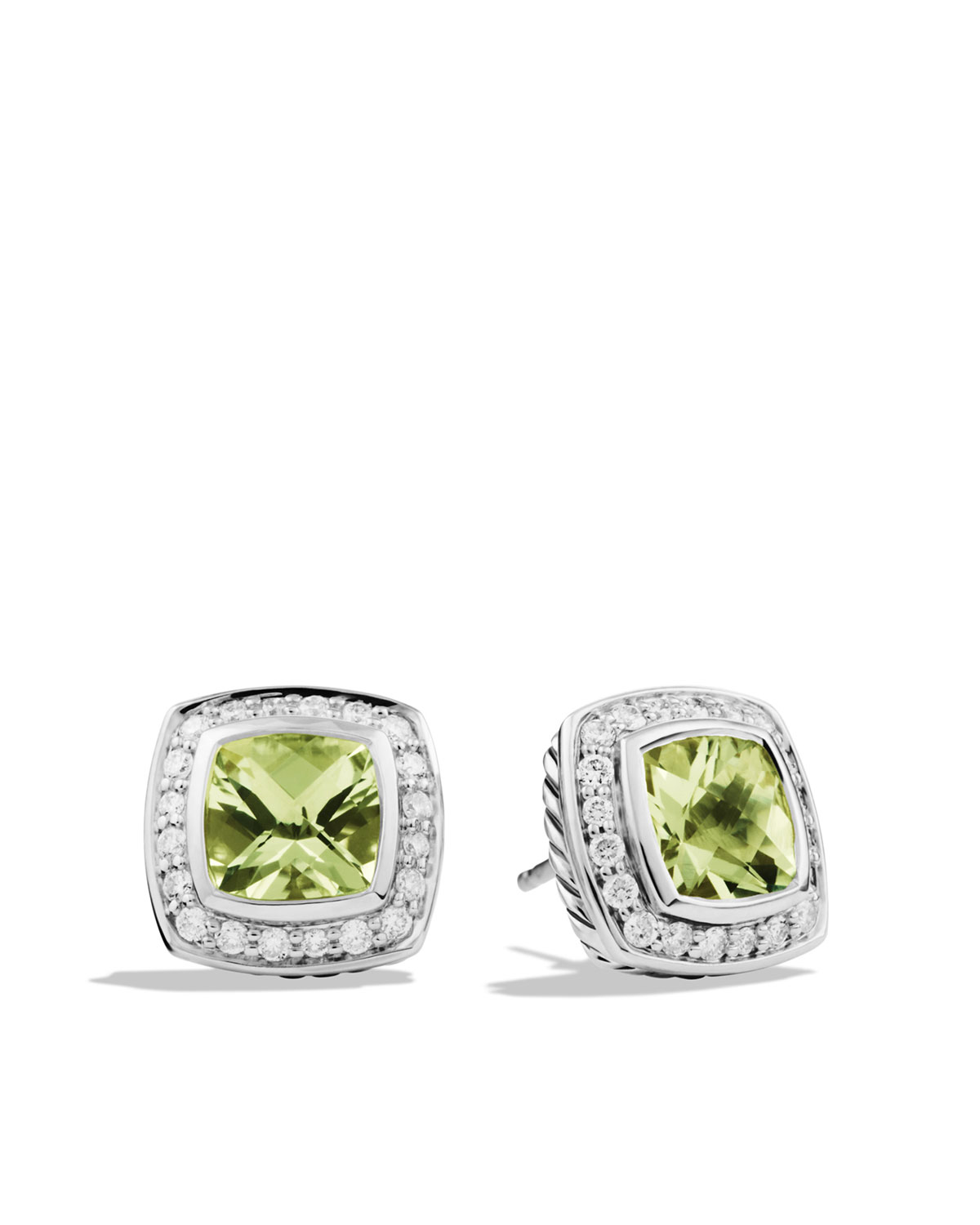 Pee Albion Earrings With Prasiolite And Diamonds