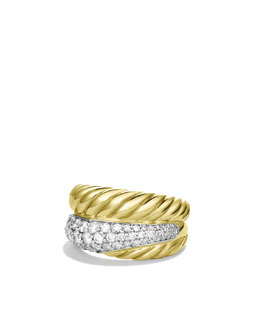 David Yurman Crossover Large Ring with Diamonds in Gold