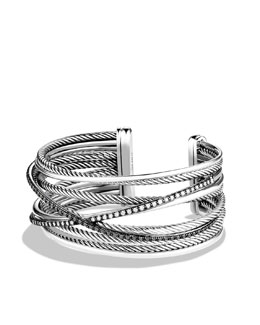David Yurman Crossover Five-Row Cuff with Black and White Diamonds