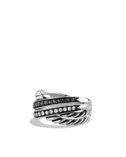 David Yurman Crossover Ring with Black and White Diamonds