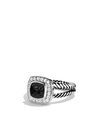 David Yurman Petite Albion Ring with Black Onyx and Diamonds