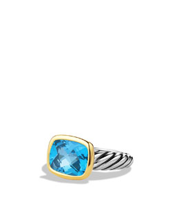 David Yurman Noblesse Ring with Blue Topaz with Gold