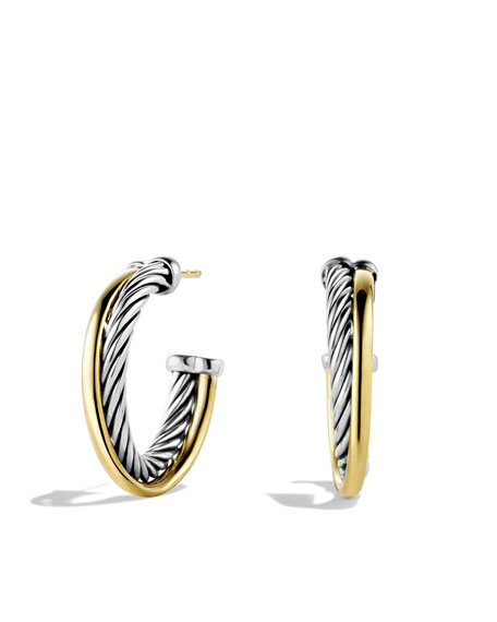 Crossover Small Hoop Earrings with Gold