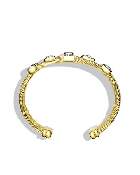 Confetti Five-Row Cuff with Diamonds in Gold