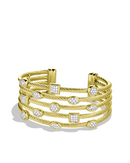 David Yurman Confetti Five-Row Cuff with Diamonds in Gold