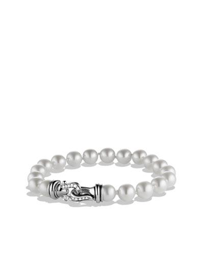 David Yurman Buckle Bracelet with Pearls and Diamonds