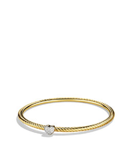 David Yurman Cable Heart Bangle with Diamonds in Gold