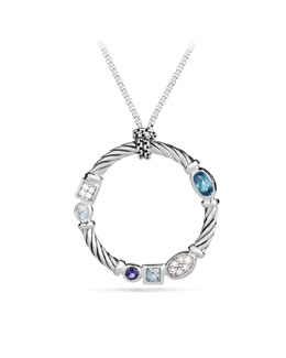 David Yurman Confetti Pendant with Blue Topaz and Iolite on Chain