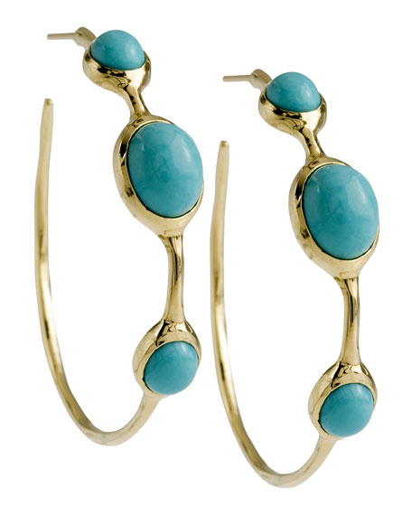 Cabochon Hoop Earrings