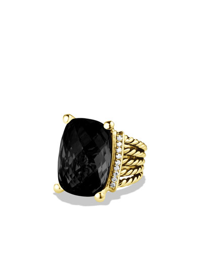 David Yurman Wheaton Ring with Black Onyx and Diamonds in Gold