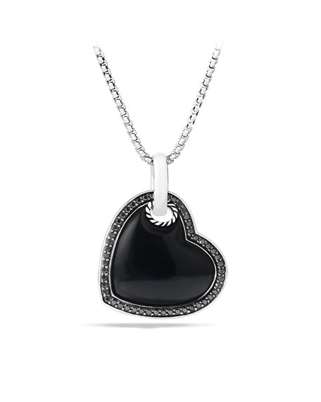 Cable Heart Pendant with Black Onyx on Chain