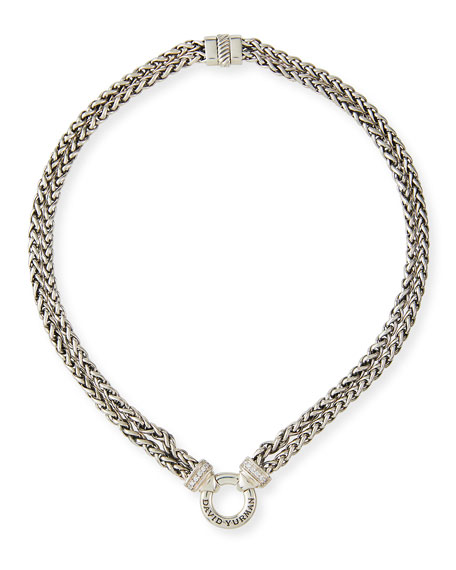 David Yurman Double Wheat Chain Necklace with Diamonds