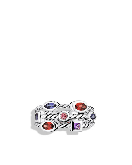Confetti Three-Row Ring with Garnet and Iolite
