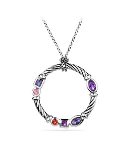 David Yurman Confetti Pendant with Amethyst and Iolite on Chain