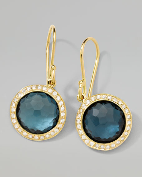 18k Mini Lollipop Earrings in London Blue Topaz with Diamonds