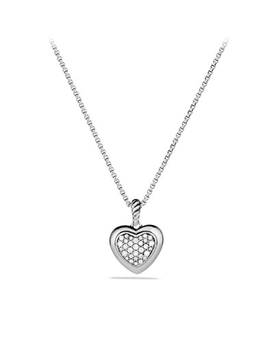David Yurman Cable Heart Pendant with Diamonds on Chain