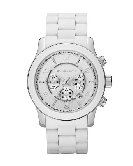 White Oversized PU Chronograph Watch