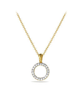 David Yurman Cable Collectibles Circle Pendant with Diamonds in Gold on Chain