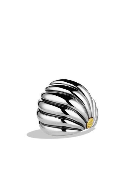Sculpted Cable Dome Ring with Gold