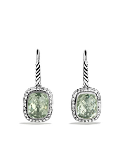 David Yurman Noblesse Drop Earrings with Prasiolite and Diamonds