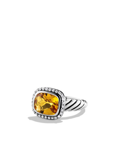 David Yurman Noblesse Ring with Citrine and Diamonds