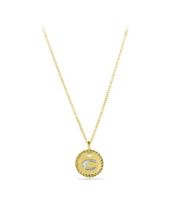 "David Yurman ""C"" Pendant with Diamonds in Gold on Chain"