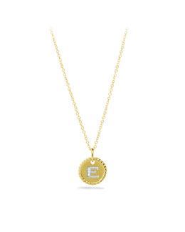 "David Yurman ""E"" Pendant with Diamonds in Gold on Chain"