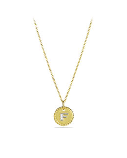 "David Yurman ""F"" Pendant with Diamonds in Gold on Chain"