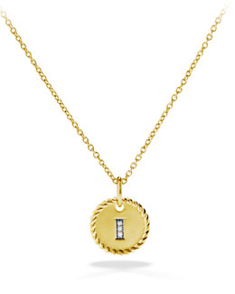 "David Yurman ""I"" Pendant with Diamonds in Gold on Chain"