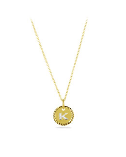 "David Yurman ""K"" Pendant with Diamonds in Gold on Chain"
