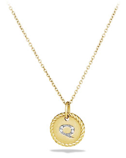 "David Yurman ""Q"" Pendant with Diamonds in Gold on Chain"