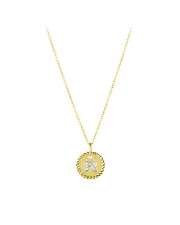 "David Yurman ""R"" Pendant with Diamonds in Gold on Chain"