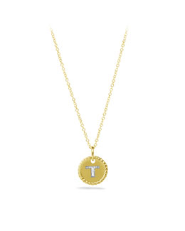 "David Yurman ""T"" Pendant with Diamonds in Gold on Chain"