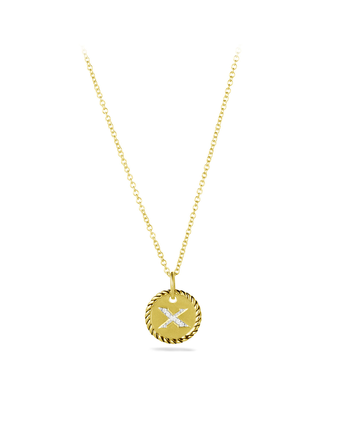 """""""X"""" Pendant with Diamonds in Gold on Chain"""