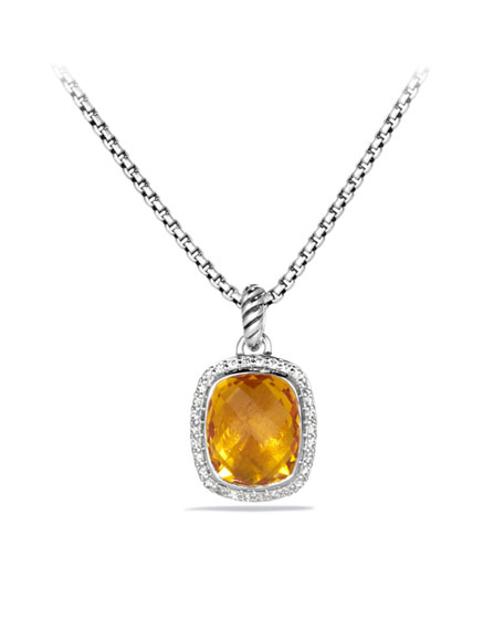 Noblesse Pendant with Citrine and Diamonds on Chain