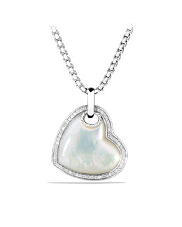 David Yurman Color Classics Heart Tag with Mother-of-Pearl and Diamonds on Chain
